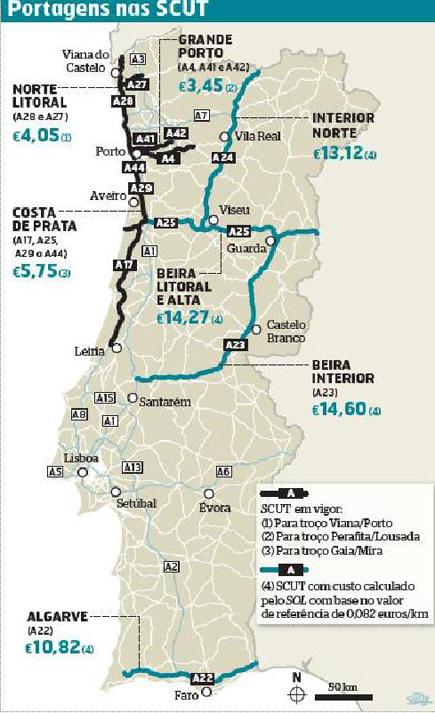 scuts portugal mapa Portagens electrónicas   como pagar ex SCUTS   prazo de pagamento SCUT scuts portugal mapa